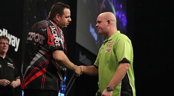 Lewis and van Gerwen take each other on tonight as they both play two matches