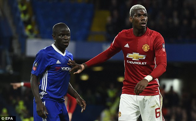 Midfield danger-men. French team mates, Kante and Pogba will be men to watch for their respective teams today. Photo Credit: Daily Mail