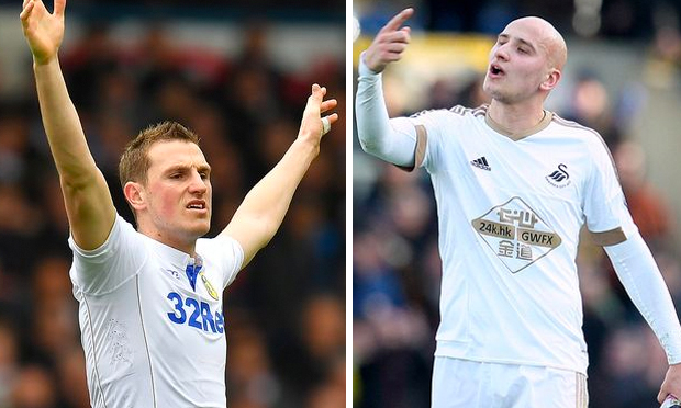 Danger Men: Chris Wood (Leeds) & Jonjo Shelvey (Newcastle). Photo Credit: Mirror Newspaper