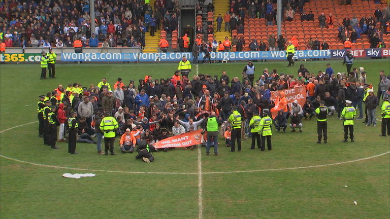 Blackpool fans protest against owner Karl Oyston