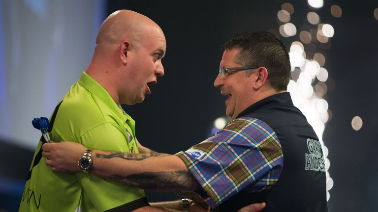 Michael van Gerwen and Gary Anderson battle it out for a place in the final