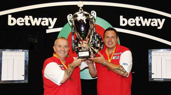 England's Phil Taylor And Adrian Lewis Betway - 2017 World Cup of Darts . Photo Credit: Lawrence Lustig - PDC.TV